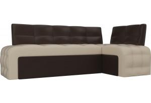 Кухонный угловой диван Люксор бежевый/коричневый (Экокожа)