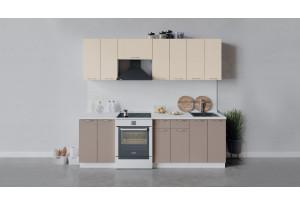 Кухонный гарнитур «Весна» длиной 240 см (Белый/Ваниль глянец/Кофе с молоком)