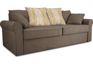 Диван «Шерри» Beauty 04 (велюр) коричневый, подушки Tiffani green oazis (шинил) зеленый оазис