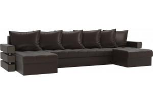 П-образный диван Венеция Коричневый (Экокожа)