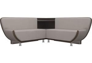 Кухонный угловой диван Лотос бежевый/коричневый (Рогожка)