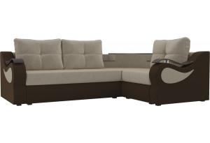 Угловой диван Митчелл бежевый/коричневый (Микровельвет)