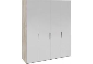 Шкаф комбинированный с 4 зеркальными дверями «Эмбер» (Баттл Рок/Серый глянец)