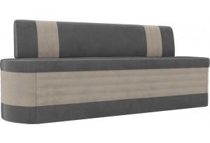 Кухонный прямой диван Токио серый/бежевый (Велюр)