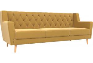 Прямой диван Брайтон 3 Люкс Желтый (Микровельвет)
