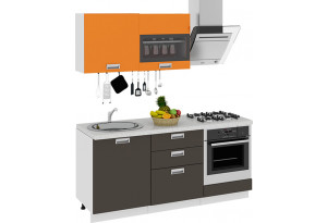 Кухонный гарнитур длиной - 180 см (со шкафом НБ) БЬЮТИ (Оранж)/(Грэй)
