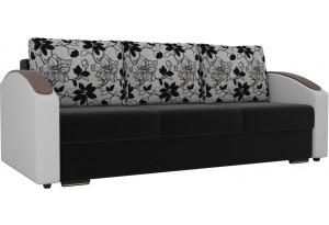 Прямой диван Монако slide Черный/Белый (Микровельвет/Экокожа/флок на рогожке)