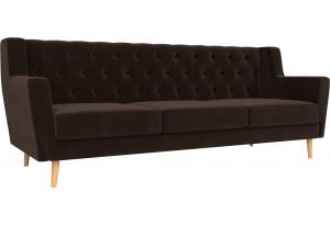 Прямой диван Брайтон 3 Люкс Коричневый (Микровельвет)