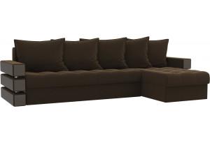 Угловой диван Венеция Коричневый (Микровельвет)
