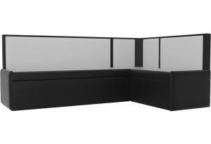Кухонный угловой диван Кристина Черный/Белый (Экокожа)