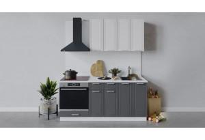 Кухонный гарнитур «Ольга» длиной 180 см со шкафом НБ (Белый/Белый/Графит)