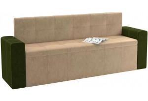 Кухонный прямой диван Династия бежевый/зеленый (Велюр)