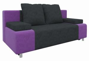 Диван прямой Шарль черный/фиолетовый (Микровельвет)
