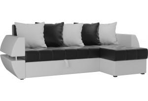 Угловой диван Атлантида У/Т Черный/Белый (Экокожа)