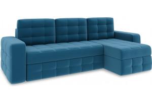 Диван угловой правый «Райс Т1» Beauty 07 (велюр) синий
