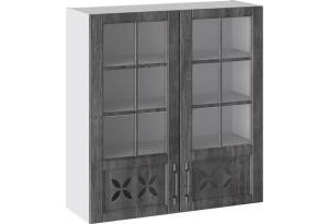 Шкаф навесной cо стеклом и декором (ПРОВАНС (Белый глянец/Санторини темный))