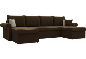 П-образный диван Милфорд Коричневый (Микровельвет)