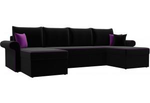 П-образный диван Милфорд Черный (Микровельвет)
