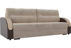 Прямой диван Дарси бежевый/коричневый (Велюр/Экокожа)
