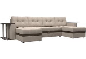 П-образный диван Атланта со столом бежевый/коричневый (Рогожка)