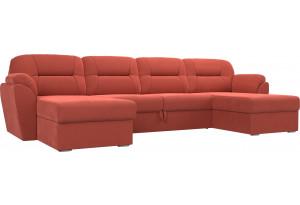 П-образный диван Бостон Коралловый (Микровельвет)
