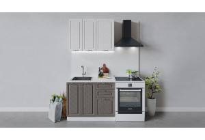 Кухонный гарнитур «Бьянка» длиной 100 см (Белый/Дуб белый/Дуб серый)