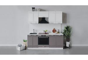 Кухонный гарнитур «Долорес» длиной 200 см со шкафом НБ (Белый/Сноу/Муссон)