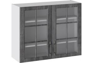 Шкаф навесной со стеклом (ПРОВАНС (Белый глянец/Санторини темный))