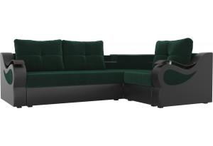 Угловой диван Митчелл зеленый/коричневый (Велюр/Экокожа)