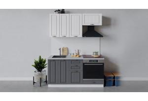 Кухонный гарнитур «Лина» длиной 160 см со шкафом НБ (Белый/Белый/Графит)