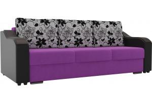 Прямой диван Монако Фиолетовый/Черный (Микровельвет/Экокожа/флок на рогожке)