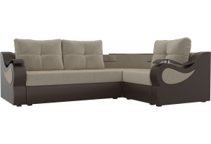 Угловой диван Митчелл бежевый/коричневый (Микровельвет/Экокожа)
