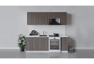 Кухонный гарнитур «Бьянка» длиной 220 см (Белый/Дуб серый)