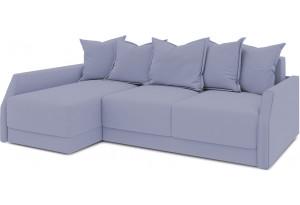 Диван угловой левый «Люксор Slim Т2» (Poseidon Blue Graphite (иск.замша) серо-фиолетовый)