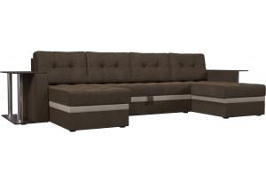 П-образный диван Атланта со столом Коричневый/Бежевый (Рогожка)