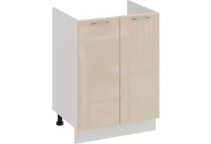 Шкаф напольный с двумя дверями (под накладную мойку) «Весна» (Белый/Ваниль глянец)
