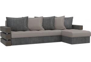 Угловой диван Венеция бежевый/Серый (Рогожка)