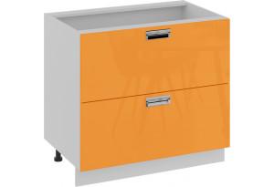 Шкаф напольный с 2-мя ящиками (БЬЮТИ (Оранж))
