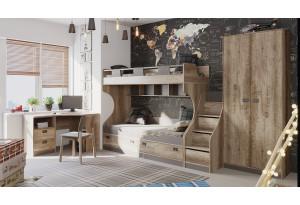 Набор детской мебели «Пилигрим» №4 Дуб Каньон светлый, Фон серый