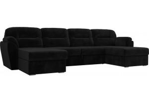 П-образный диван Бостон Черный (Велюр)