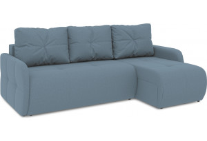 Диван угловой правый «Томас Slim Т1» (Poseidon Ocean (иск.замша) серо-голубой)