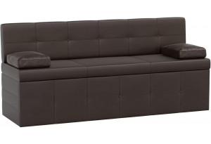 Кухонный прямой диван Лео Коричневый (Экокожа)