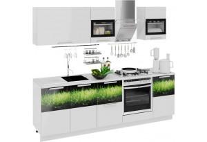 Кухонный гарнитур длиной - 240 см (со шкафом НБ) Фэнтези (Белый универс)/(Грасс)