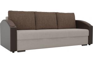 Прямой диван Монако slide бежевый/коричневый (Рогожка/Экокожа)
