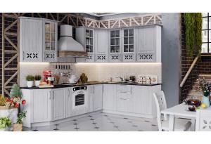 Угловая кухня длиной - 280 х 210 см (со шкафом НБ) (ПРОВАНС (Белый глянец/Санторини светлый))