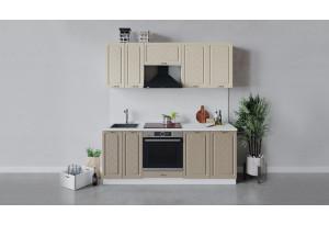 Кухонный гарнитур «Бьянка» длиной 200 см со шкафом НБ (Белый/Дуб ваниль/Дуб кофе)