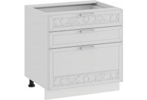 Шкаф напольный с тремя ящиками «Долорес» (Белый/Сноу)