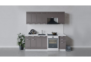 Кухонный гарнитур «Долорес» длиной 220 см (Белый/Муссон)