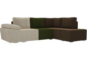 Угловой диван Хавьер бежевый/зеленый/коричневый (Микровельвет)