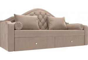Прямой диван софа Сойер Бежевый (Велюр)